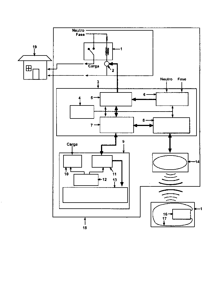 Prepayment system for electric power meters using a