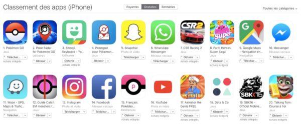 pokemon go domine l app store francais