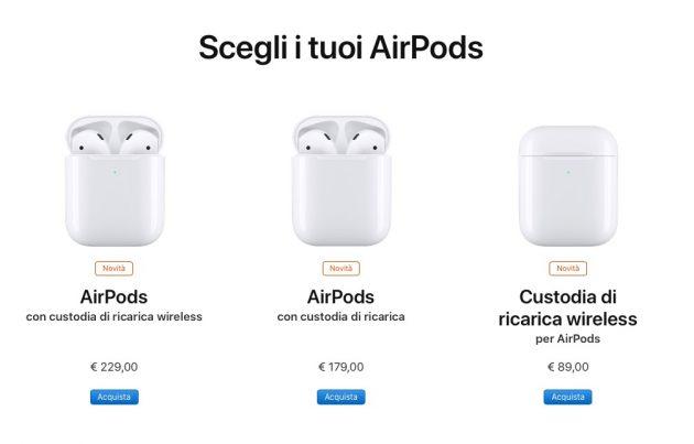 apple airpods prezzi