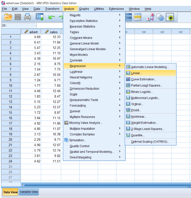 Input of Linear Regression in SPSS - javatpoint