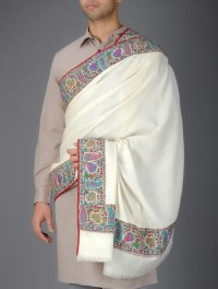 Buy Cream Handwoven Kashmir Pashmina All-around Hand ...