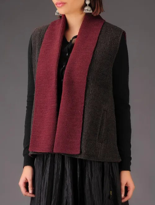 Buy Grey Red Wool Natural Dyed Jacket Online At