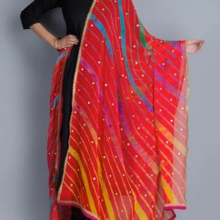 Kitchen Carpets Knife Sheaths Buy Multi-color Chiffon Leheriya Dupatta By Rang Bandhej ...