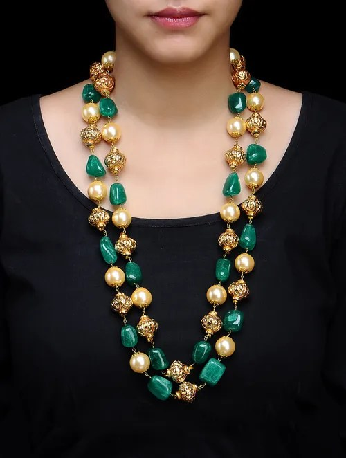 Buy Double Chain Carved Metal Beads Pearl Shell Necklace