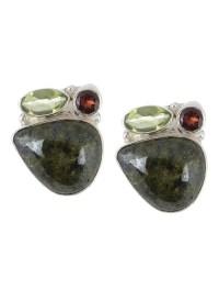 Buy Peridot-Serpentine Silver Earrings Online at Jaypore.com