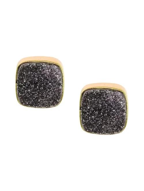 Buy Pair of Black Druzy Earrings Online at Jaypore.com