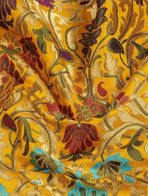 yellow and red kitchen curtains outdoor miami buy yellow-red benarasi kimkhwab brocade fabric online at ...