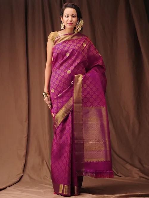 lighting above kitchen table new cabinet doors buy fuschia zari kanjivaram silk saree online at jaypore.com