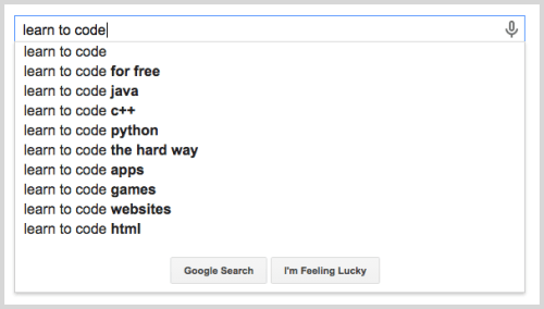 Google suggestions for blog ideas