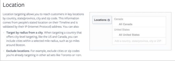 Location selection for how to promote your quizzes on Facebook