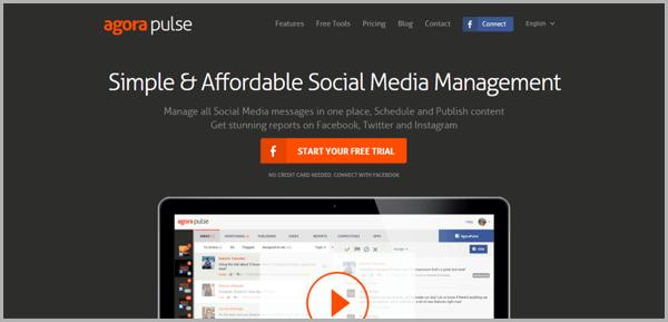 Agora Pulse - example of social media management tools