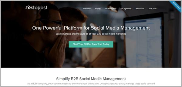 Oktopost - example of social media management tools