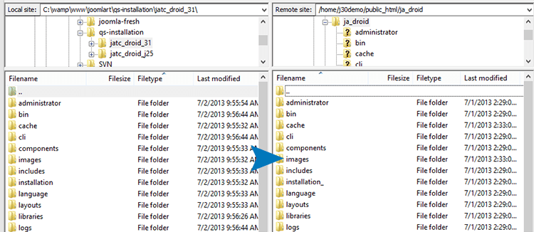 Joomla template quickstart installation documentation