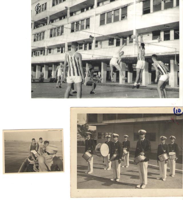 Superior - Leopardi, um pouco desequilibrado, cortando no Vôlei Inferior esquerdo - Coaraci, Laerte Portão, Mendes e Leopardi na proa do Escaler Inferior direito - Bandinha da Escola de uniforme Alexandrino em 11 de junho de 1964;