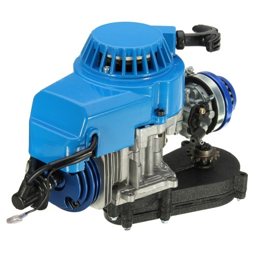 small resolution of generic 2 stroke engine motor with carb air filter gear box 49cc mini dirt bike atv quad blue
