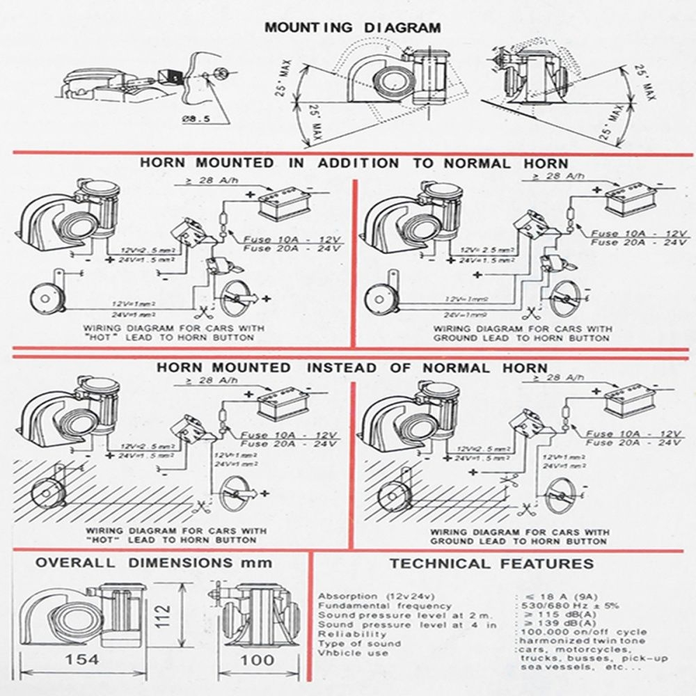 hight resolution of buy generic 12v 139db electric pump air loud horn compact dual tone 12v outlet wiring diagram 12v air horn wiring diagram