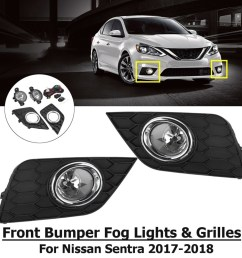 generic pair front bumper fog lights grilles with harness for nissan sentra 2017 2018 [ 1000 x 1000 Pixel ]
