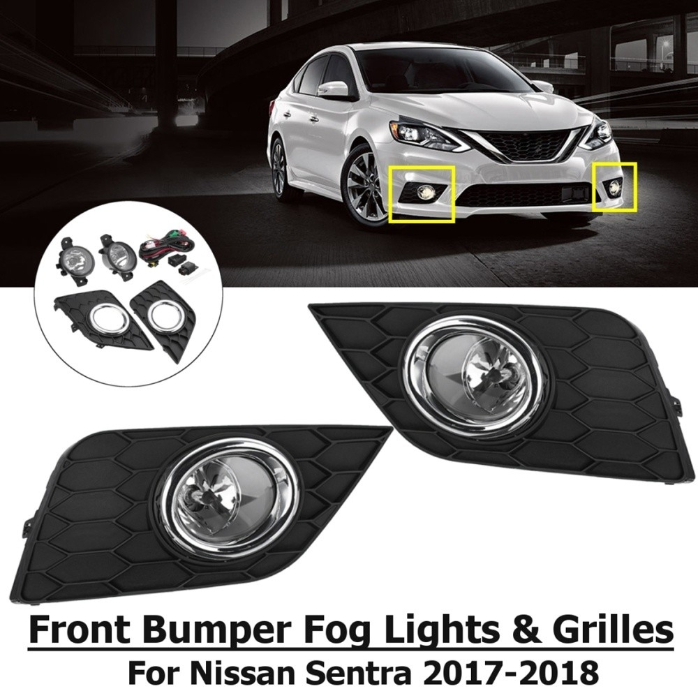 medium resolution of generic pair front bumper fog lights grilles with harness for nissan sentra 2017 2018
