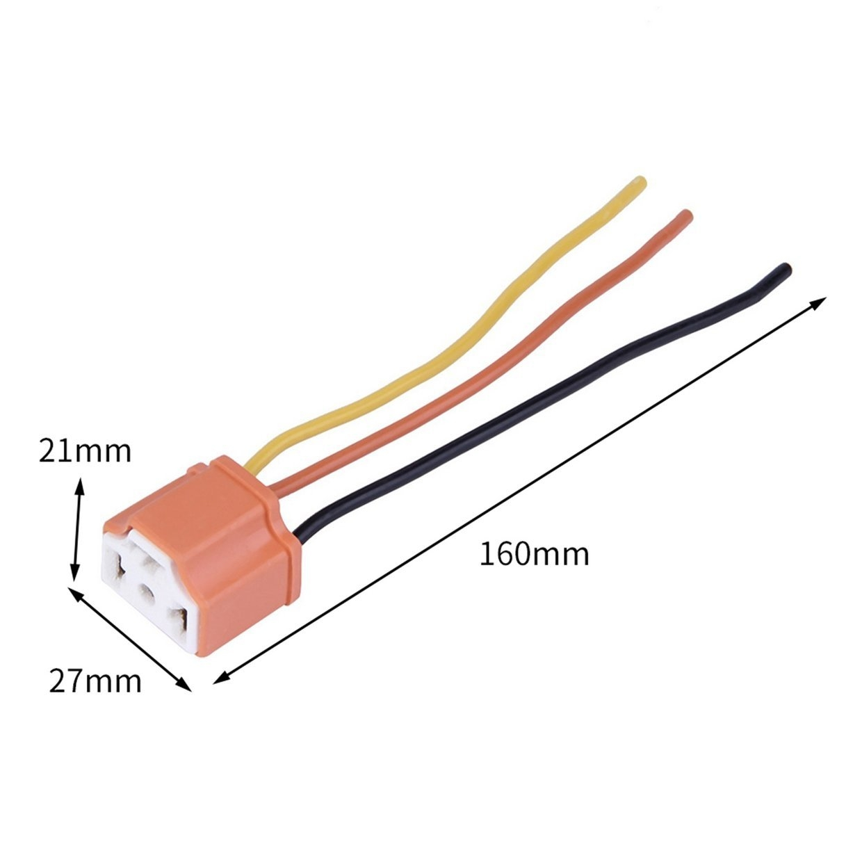 hight resolution of generic or h4 car female ceramic headlight extension connector plug light wire socket orange
