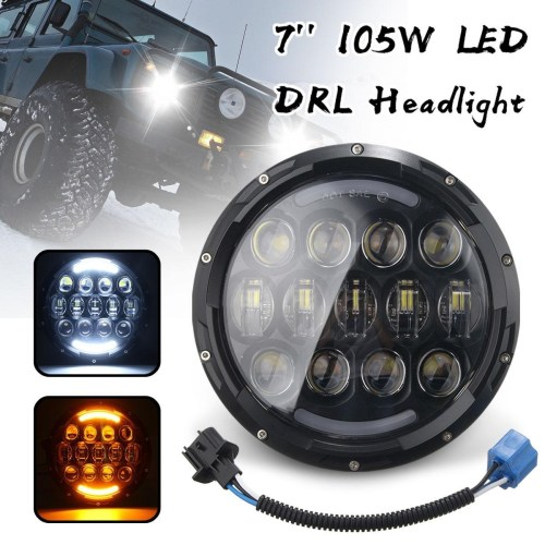 small resolution of generic for 97 16 jeep wrangler tj jk 7 round led 105w hi lo beam drl headlight 6500k