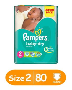 PAMPERS Baby Dry Diapers Size 2 Jumbo Pack Count 80