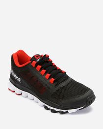 Lace Up Mesh Sneakers - Black & Red