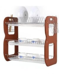 Universal 3 Tiers Wooden Dish Rack With Dish/Plate Drainer ...