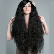 generic long curly black wigs shaggy