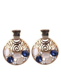Brazilian Gold Jewelry Gold With Blue Stones Earring | Buy ...