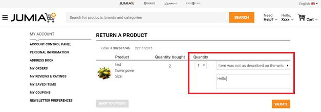 How to Return a Jumia Product dashboard