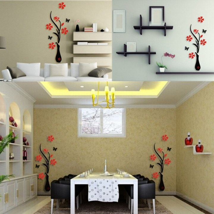 Allwin 3D Acrylic Vase & Plum Pattern Room TV Backdrop Entrance Home Wall Sticker price in Nigeria