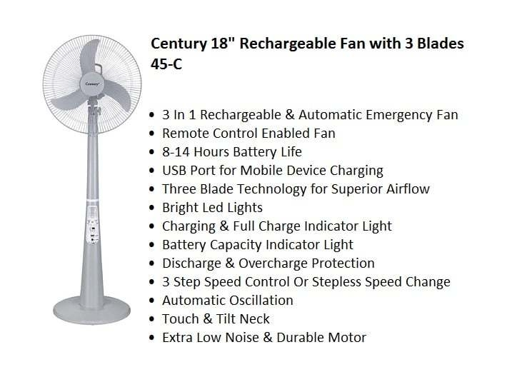 Century 18 Rechargeable Fan With 3 Blades 45 C price in Nigeria
