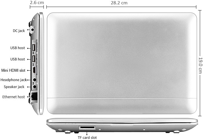 1088A Android 4.4 Netbook with 10.1 inch WSVGA WM8880 Dual Core 1.5GHz 1GB 8GB WIFI Camera