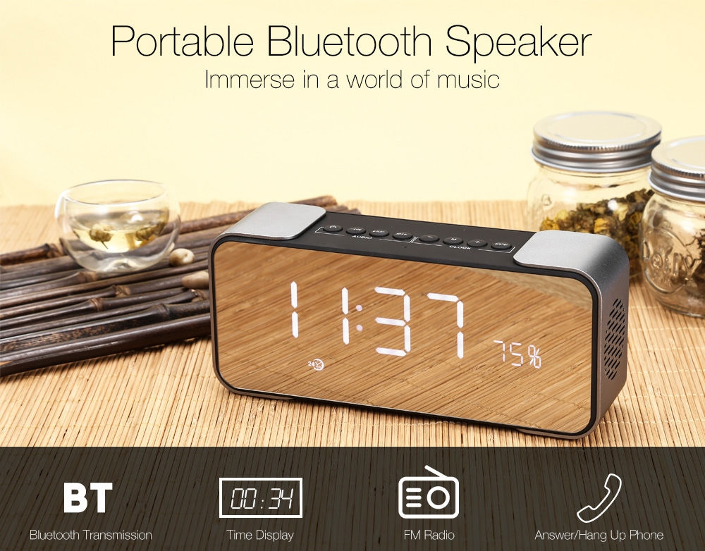 d22c57eaabe025a20f4fa66a6b63026a Generic PTH   305 Multi functional Clock Bluetooth Speaker Stereo Sound LED Display Big Mirror Screen USB Charge
