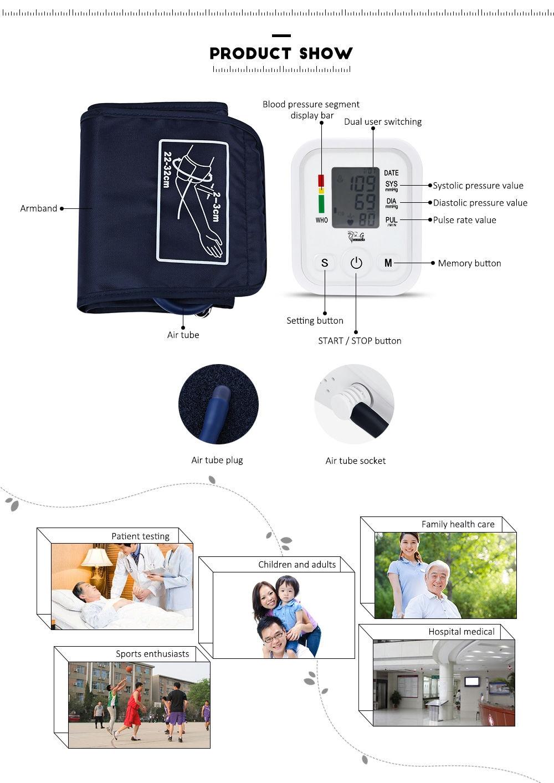 256f9cb1e99e8fd5ec44963182e9d637 Generic Arm Blood Pressure Pulse Monitor Digital Sphygmomanometer   White