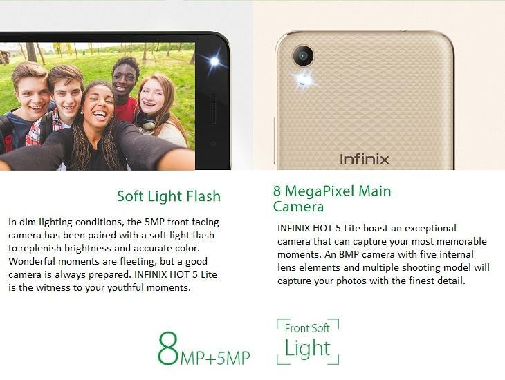 Infinix Hot 5 Lite (X559) 5.5 Inch HD (1GB, 16GB ROM) Android 7, 8MP + 5MP Dual SIM 3G Smartphone   Luxurious Gold price in nigeria
