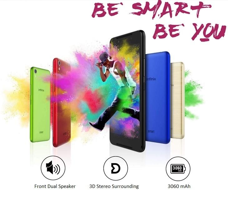 Infinix Smart (X5010) 5.0 Inch HD (1GB RAM, 16GB ROM) Android Nougat, 8MP + 2MP Dual SIM 3G Smartphone   Black price in nigeria