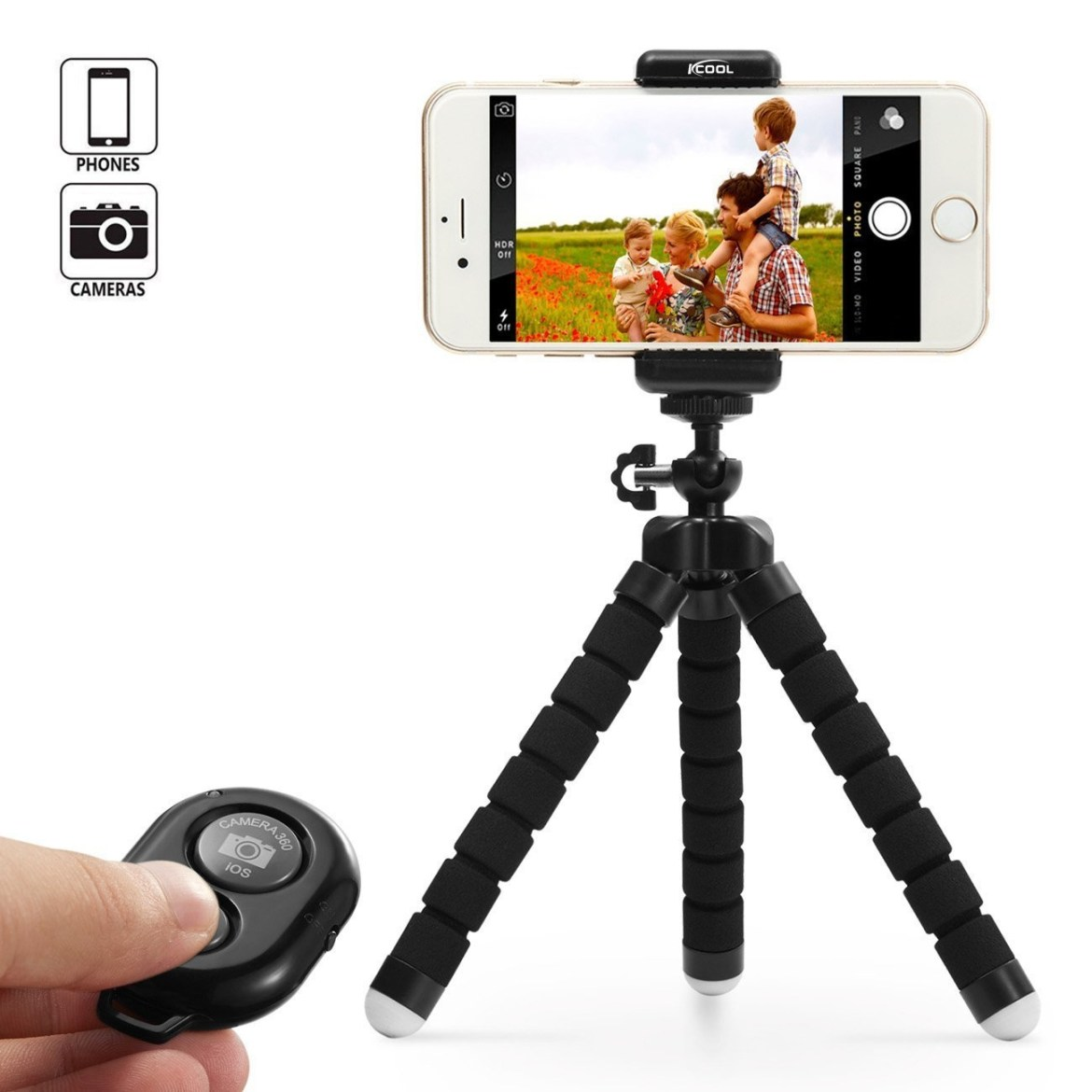 bc6876f44d7bc4f4b528dbffd658d65c Octopus Tripod Stand Holder Universal Clip & Remote For Smartphones & Camera   Black