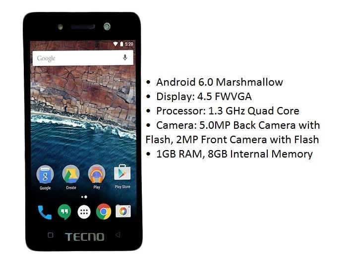 Tecno W2 4.5 Inch FWVGA (1GB, 8GB ROM) Android 6.0 Marshmallow, 5MP + 2MP Smartphone   Gold Nigeria