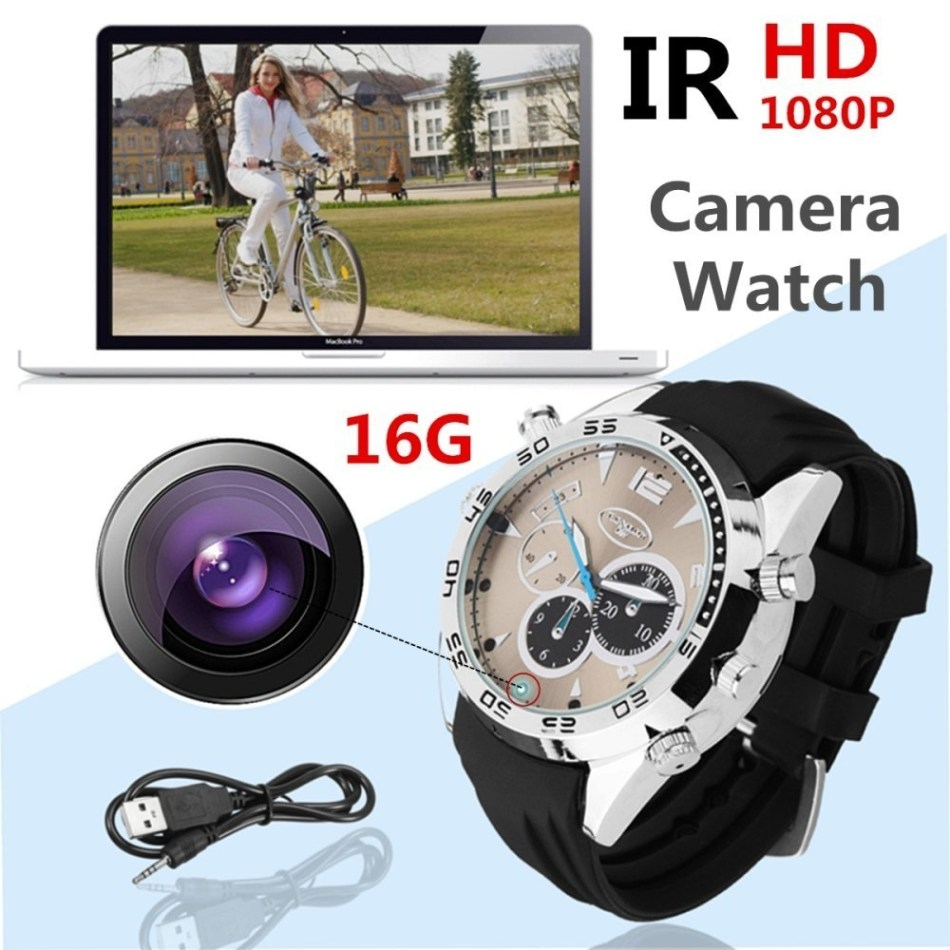 Universal Wrist Watch HD 1080P 16GB IR Night Vision Hidden Video Camera Waterproof DVR