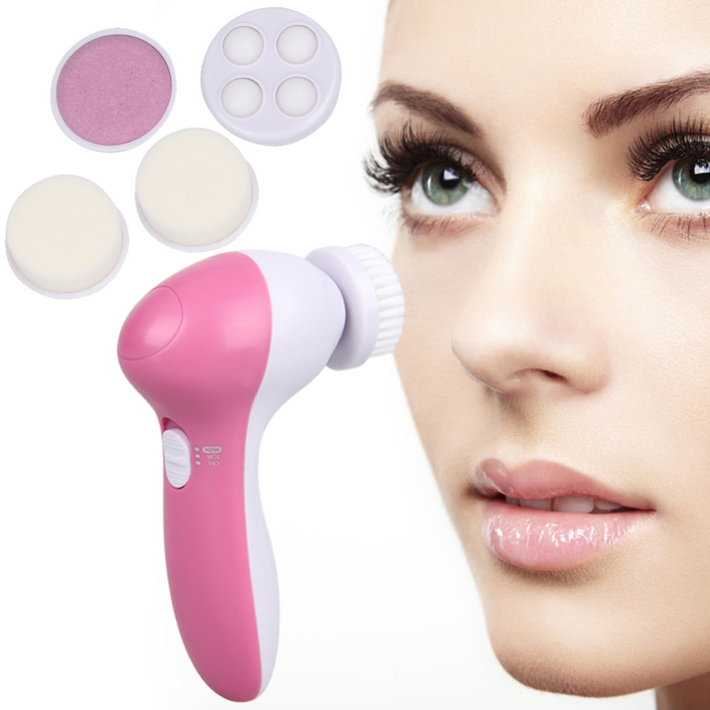 f8283bd59eebf77db3ce8abe234c5b82 Universal Deep Clean 5 In 1 Electric Facial Cleaner Face Skin Care Brush Massager Spin Body Cleansing Facial Pore Cleaner