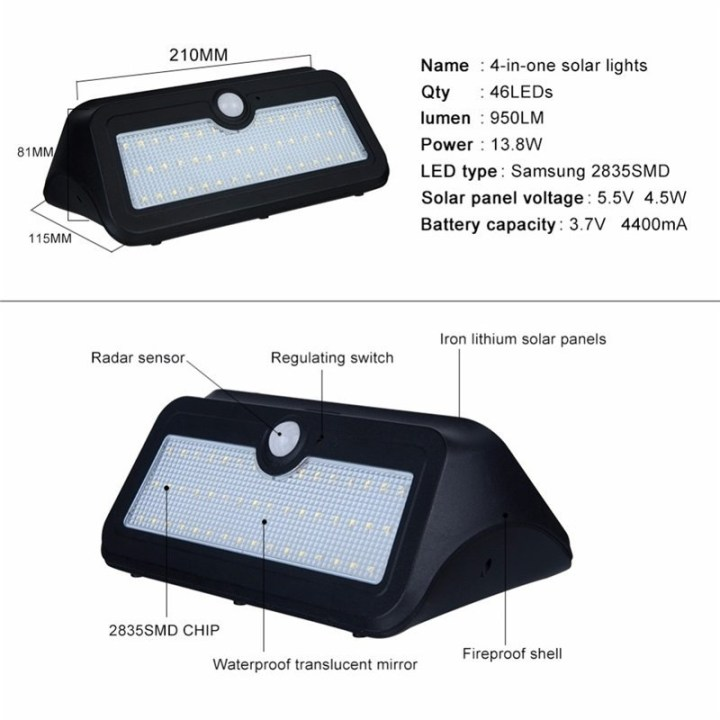Universal 46 LED Solar Powered Security Flood Motion Sensor Wall Light Outdoor Garden Lamp price in Nigeria