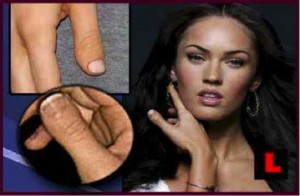 Actress Megan Fox showing deformed thumb