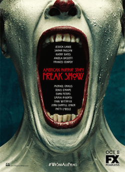 """Poster of white-faced """"Freak Show"""" clown with mouth wide open."""