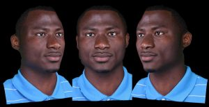 3 bust shots of young black man, an example of 3-D scans of facial symmetry,