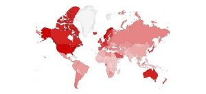 Map of world with Rich/poor countries & cleft lip repair resources shown in dark and light red.