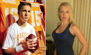 3/4 shots of Manning w football juxtaposed with & Naughright in black dress.  Peyton Manning cleft palate Preferential treatment?