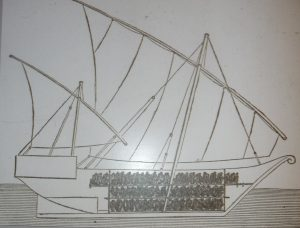 Drawing of slave trade ship.