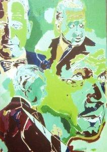 Greenish ptg of Dag Hammarskjold, UN Secty-Genrl '53-'61