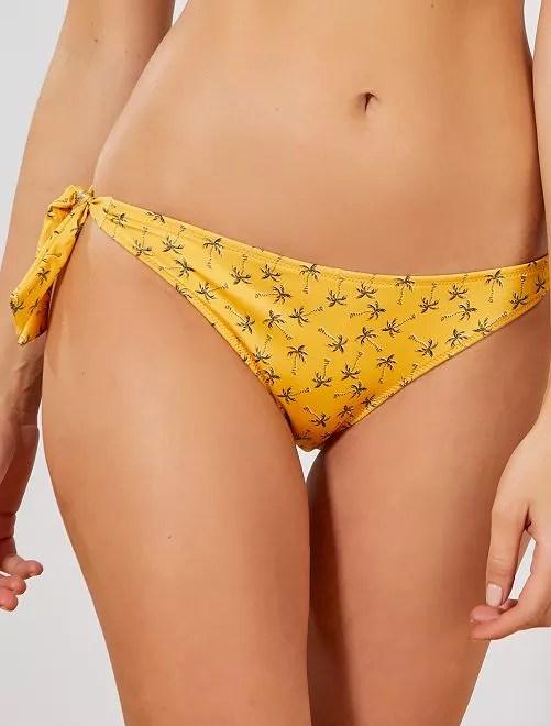 Culotte de bain noeuds côtés jaune Femme